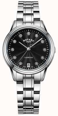 Rotary Dames cambridge stone set ss armbandhorloge LB05258/13