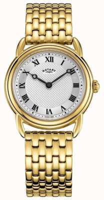 Rotary Dames canterbury gouden armband zilveren wijzerplaathorloge LB05338/21
