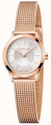 Calvin Klein Dames roségouden mesh armband witte wijzerplaat K3M23626