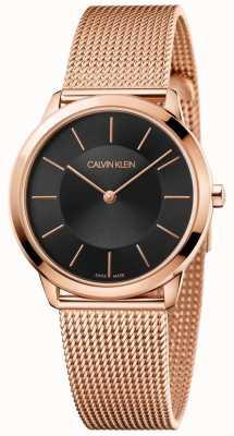 Calvin Klein Dames minimal rose gouden mesh armband zwarte wijzerplaat K3M2262Y