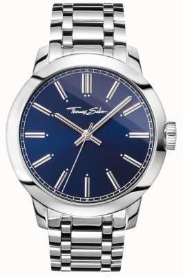 Thomas Sabo Heren rebel op hart horloge roestvrij stalen armband blauwe wijzerplaat WA0310-201-209-46