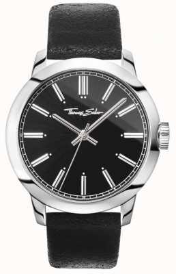 Thomas Sabo Heren rebel in het hart horloge zwart lederen band zwarte wijzerplaat WA0312-203-203-46
