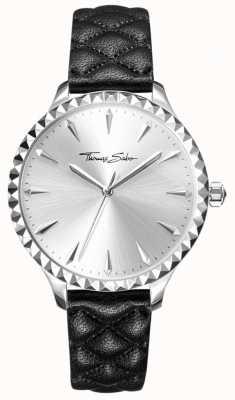 Thomas Sabo Womens rebel in hart horloge zwart lederen band zilveren wijzerplaat WA0320-203-201-38