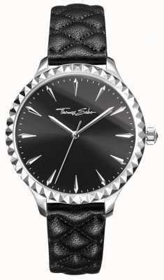 Thomas Sabo Womens rebel in hart horloge zwart lederen band zwarte wijzerplaat WA0321-203-203-38