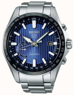 Seiko Astron solar gps blauwe wijzerplaat roestvrij stalen armband SSE159J1