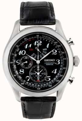 Seiko Heren chronograaf horloge zwarte wijzerplaat lederen band SPC133P1