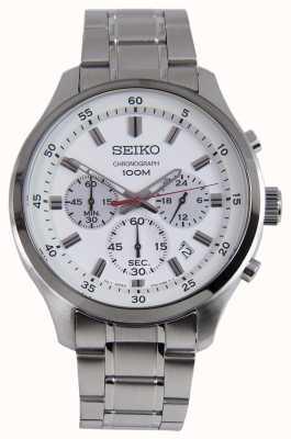 Seiko heren sport chronograaf horloge zilver witte wijzerplaat SKS583P1
