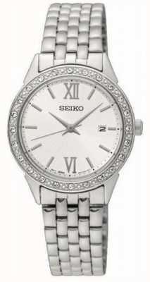 Seiko dames zilver metalen armband witte wijzerplaat SUR695P1