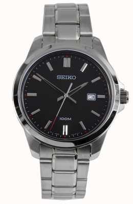 Seiko Heren dress horloge zilveren armband zwarte wijzerplaat SUR245P1