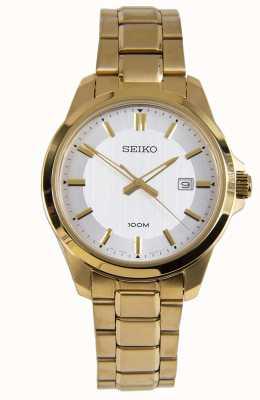 Seiko Heren dress horloge gouden armband witte wijzerplaat SUR248P1
