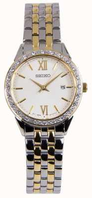 Seiko Dames two tone zilveren en gouden jurk horloge SUR690P1