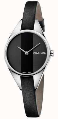 Calvin Klein Dames rebel zwart lederen dunne bandhorloge K8P231C1
