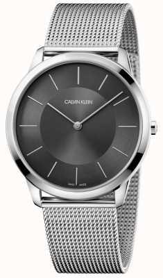 Calvin Klein Mens minimaal zilver roestvrij gaas armband zwarte wijzerplaat horloge K3M2T124