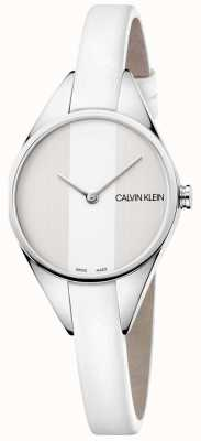 Calvin Klein Dames rebel wit lederen dunne bandhorloge K8P231L6
