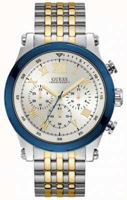 Guess Anker heren sport chronograaf zilver rond W1104G1