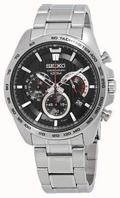 Seiko Heren chronograaf horloge zilver zwarte wijzerplaat SSB299P1