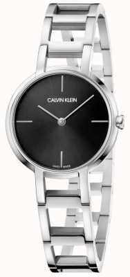 Calvin Klein Dames juichen zilveren roestvrij stalen zwarte wijzerplaat kijken K8N23141