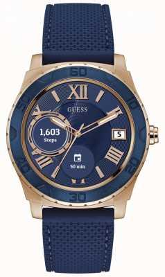 Guess Verbind unisex 44 mm digitaal roségoud en blauw horloge C1001G2