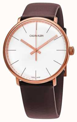 Calvin Klein Hoge hogen rosé gouden kast met lederen bruine lederen band voor heren K8M216G6