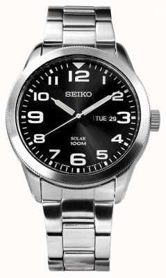 Seiko Mens zonne zilveren armband zwarte wijzerplaat SNE471P1