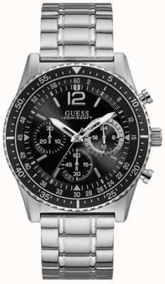 Guess Lancering heren sport chronograaf zilveren ronde W1106G1