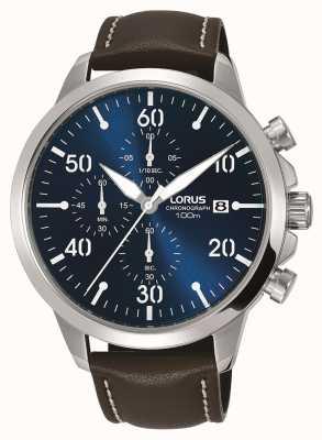 Lorus Heren chronograaf horloge bruin lederen band blauwe wijzerplaat RM353EX9