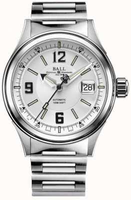 Ball Watch Company Fireman racer automatische roestvrijstalen armband witte wijzerplaat NM2088C-S2J-WHBK