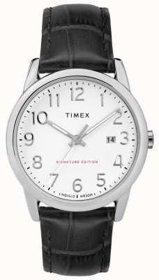 Timex Gemakkelijk leesbare handtekening met datum 38 mm lederen horloge TW2R64900