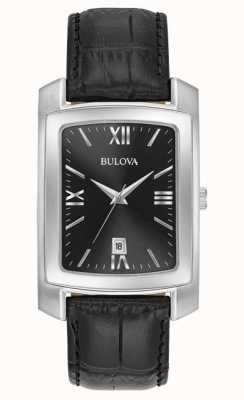Bulova Klassieke heren rechthoekige zwarte riem 96B269
