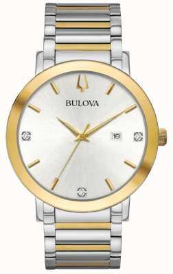 Bulova Tweekleurige herenarmband zilveren wijzerplaat 98D151