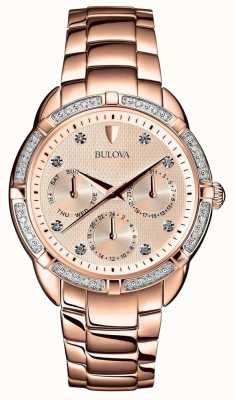 Bulova Diamanten dames roségouden wijzerplaat 98W178