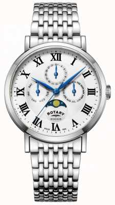 Rotary Herenhorloge / maanfasehorloge zilveren toonarmband GB05325/01