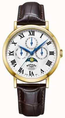 Rotary Heren windsor moonphase horloge lederen band GS05328/01