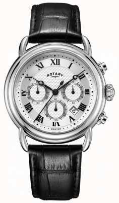 Rotary Heren canterbury chronograaf horloge zwart lederen band GS05330/21