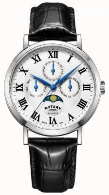Rotary Heren windsor maanfase dag datum horloge zwart lederen band GS05325/01