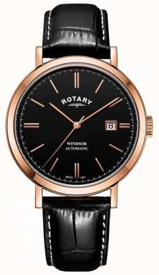 Rotary Heren windsor horloge goudkleurige kast zwarte wijzerplaat lederen band GS05319/04