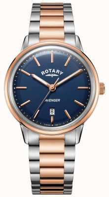 Rotary Heren Avenger horloge | roestvrij stalen armband | blauwe wijzerplaat | GB05342/05