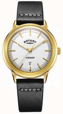 Rotary Heren avenger horloge witte wijzerplaat goudkleurige lederen band GS05343/03