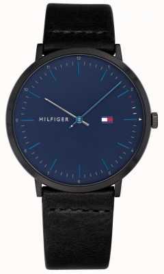 Tommy Hilfiger Heren james horloge zwart lederen band blauwe wijzerplaat 1791462