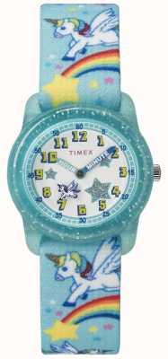 Timex Jeugd analoge 28mm groenblauw regenboog eenhoorn TW7C256004E