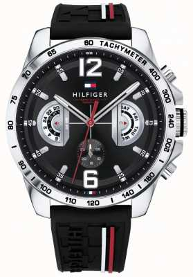 Tommy Hilfiger Heren decker horloge zwarte wijzerplaat zwarte rubberen band 1791473
