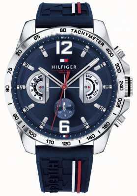 Tommy Hilfiger Heren decker horloge blauwe wijzerplaat blauwe rubberen band 1791476