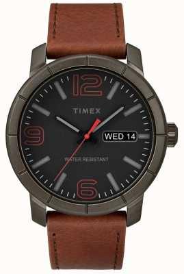 Timex Mens mod 44 tan lederen band zwarte wijzerplaat TW2R64000