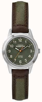 Timex Field mini brow lederen groene wijzerplaat TW4B12000