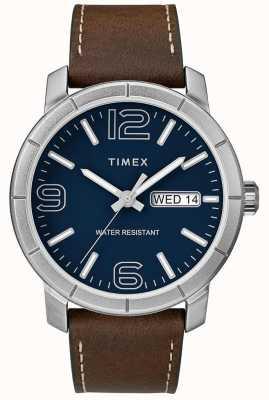 Timex Heren mod 44 bruine lederen band blauwe wijzerplaat TW2R64200