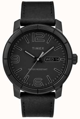 Timex Zwarte wijzerplaat mod 44 zwart lederen band heren TW2R64300