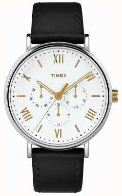 Timex Mens 41mm southview zwarte lederen band witte wijzerplaat TW2R80500