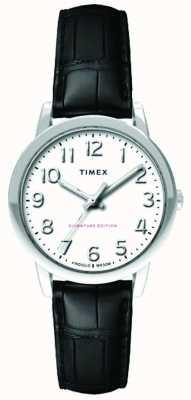 Timex Womens 30mm easy reader zwarte croc band witte wijzerplaat TW2R65300