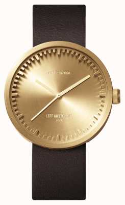Leff Amsterdam Tube watch d38 messing kast bruin lederen band LT71022