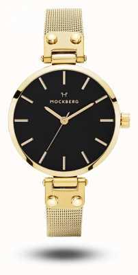 Mockberg Dames livia petite noir gouden mesh armband zwarte wijzerplaat MO403